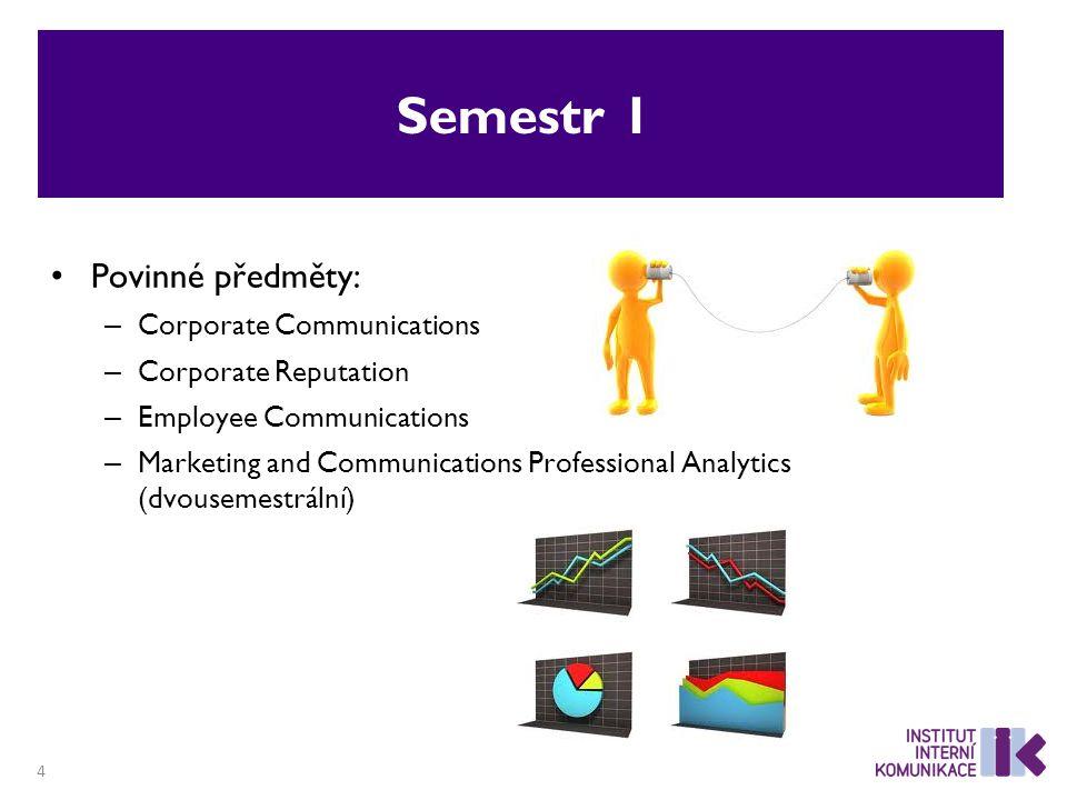 Semestr 1 Povinné předměty: – Corporate Communications – Corporate Reputation – Employee Communications – Marketing and Communications Professional Analytics (dvousemestrální) 4