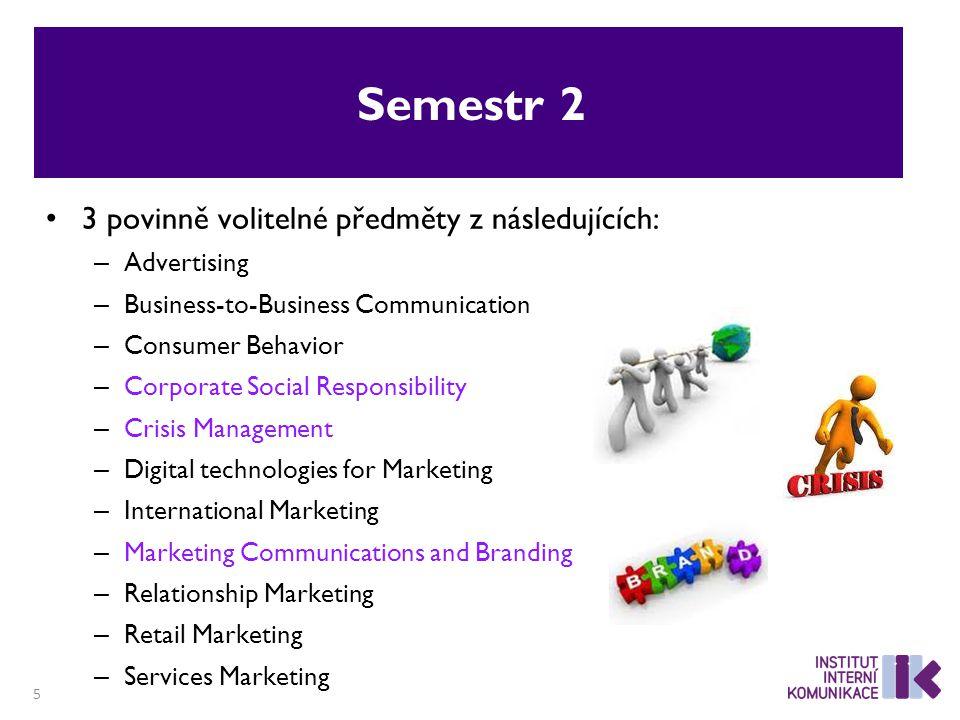 Semestr 2 3 povinně volitelné předměty z následujících: – Advertising – Business-to-Business Communication – Consumer Behavior – Corporate Social Resp