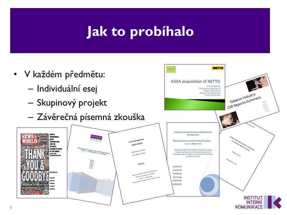 Jak to probíhalo V každém předmětu: – Individuální esej – Skupinový projekt – Závěrečná písemná zkouška 6