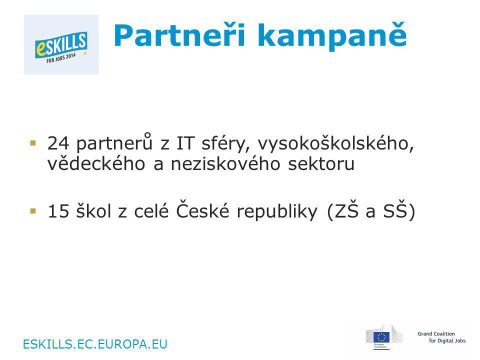 ESKILLS.EC.EUROPA.EU Partneři kampaně  24 partnerů z IT sféry, vysokoškolského, vědeckého a neziskového sektoru  15 škol z celé České republiky (ZŠ a SŠ)