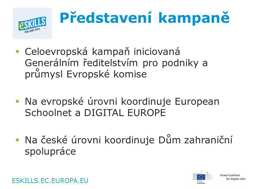 ESKILLS.EC.EUROPA.EU Představení kampaně  Celoevropská kampaň iniciovaná Generálním ředitelstvím pro podniky a průmysl Evropské komise  Na evropské úrovni koordinuje European Schoolnet a DIGITAL EUROPE  Na české úrovni koordinuje Dům zahraniční spolupráce