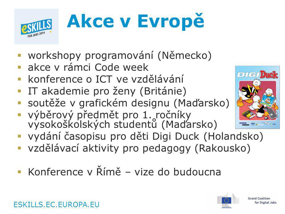 ESKILLS.EC.EUROPA.EU Akce v Evropě  workshopy programování (Německo)  akce v rámci Code week  konference o ICT ve vzdělávání  IT akademie pro ženy (Británie)  soutěže v grafickém designu (Maďarsko)  výběrový předmět pro 1.