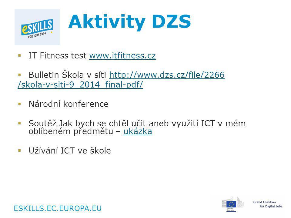 ESKILLS.EC.EUROPA.EU Aktivity DZS  IT Fitness test www.itfitness.czwww.itfitness.cz  Bulletin Škola v síti http://www.dzs.cz/file/2266http://www.dzs.cz/file/2266 /skola-v-siti-9_2014_final-pdf/  Národní konference  Soutěž Jak bych se chtěl učit aneb využití ICT v mém oblíbeném předmětu – ukázkaukázka  Užívání ICT ve škole