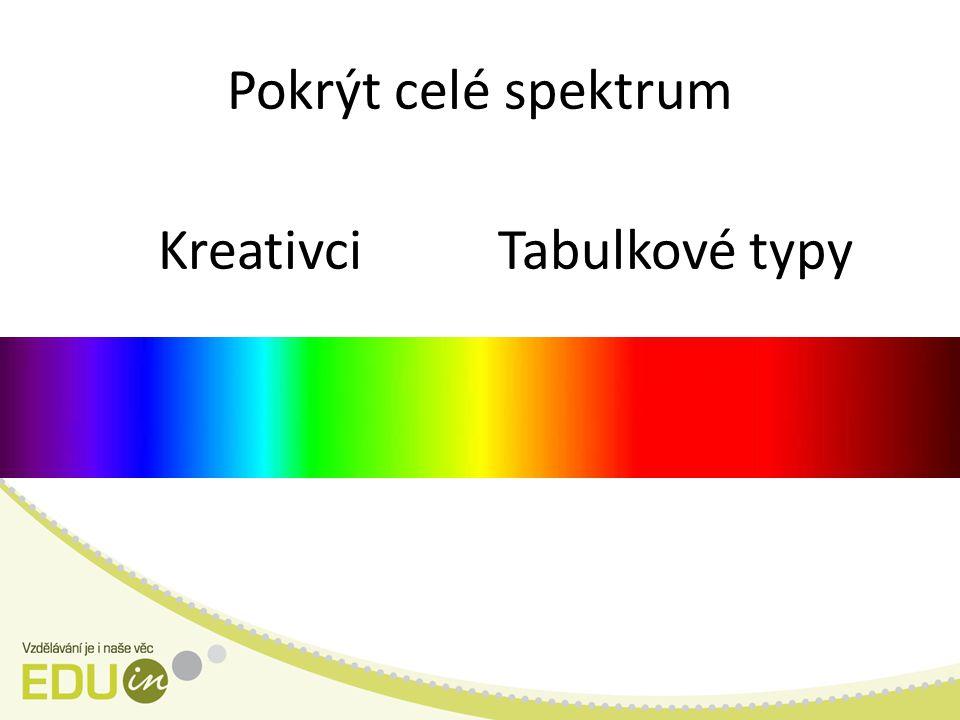 Pokrýt celé spektrum KreativciTabulkové typy