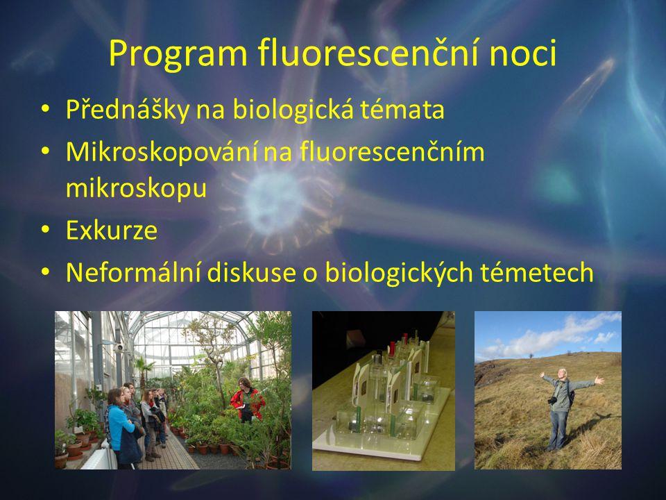 Program fluorescenční noci Přednášky na biologická témata Mikroskopování na fluorescenčním mikroskopu Exkurze Neformální diskuse o biologických témete