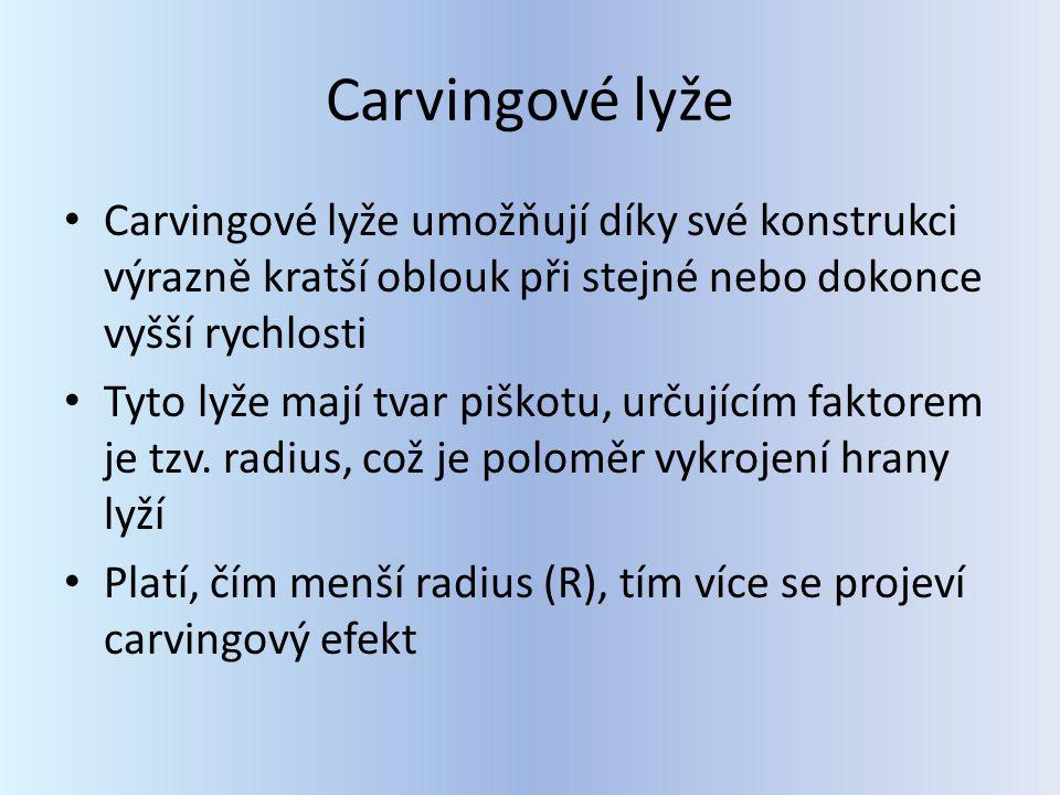 Carvingové lyže Carvingové lyže umožňují díky své konstrukci výrazně kratší oblouk při stejné nebo dokonce vyšší rychlosti Tyto lyže mají tvar piškotu, určujícím faktorem je tzv.