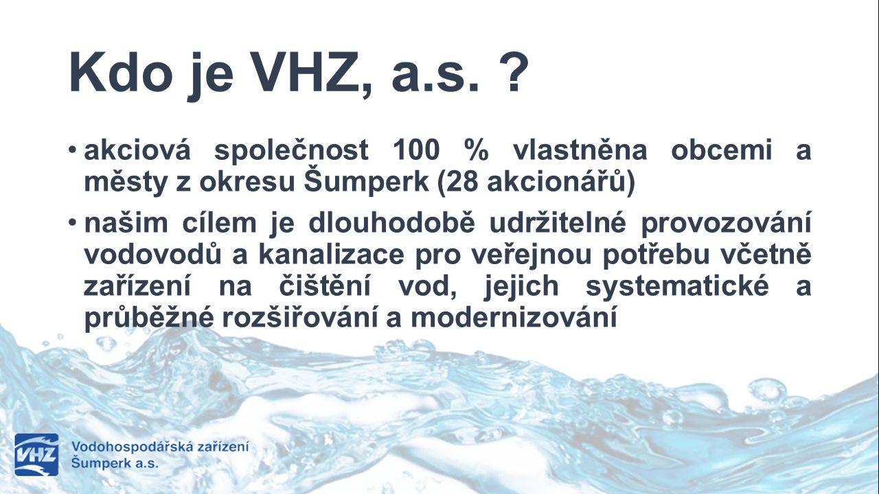 Kdo je VHZ, a.s. ? akciová společnost 100 % vlastněna obcemi a městy z okresu Šumperk (28 akcionářů) našim cílem je dlouhodobě udržitelné provozování