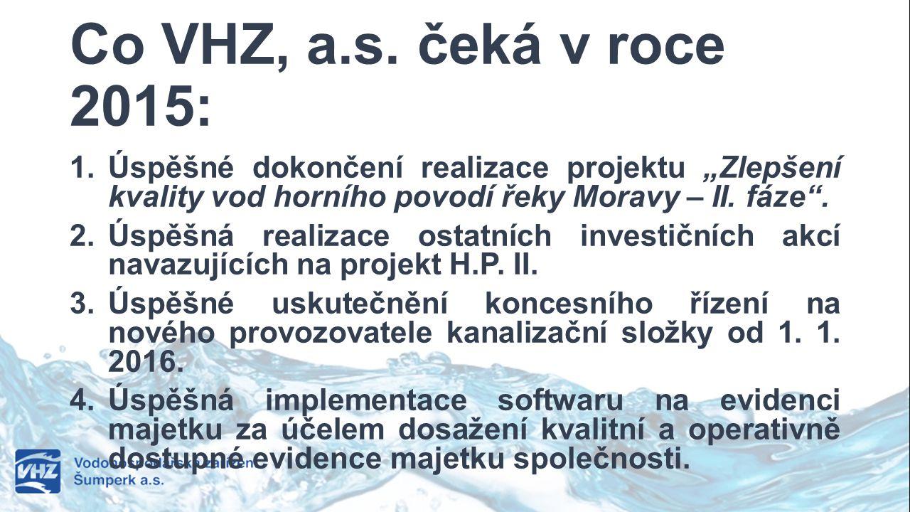 """Co VHZ, a.s. čeká v roce 2015: 1. Úspěšné dokončení realizace projektu """"Zlepšení kvality vod horního povodí řeky Moravy – II. fáze"""". 2. Úspěšná realiz"""