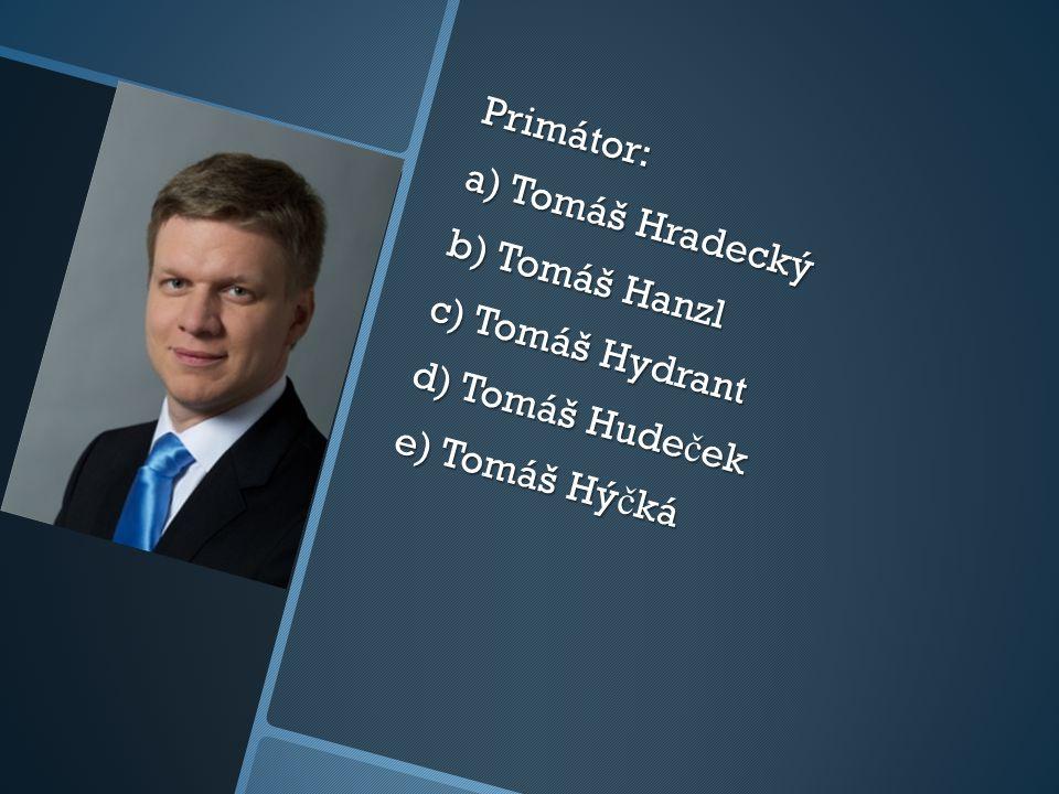 Primátor: a) Tomáš Hradecký b) Tomáš Hanzl c) Tomáš Hydrant d) Tomáš Hude č ek e) Tomáš Hý č ká