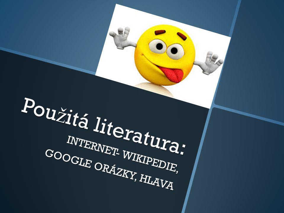 Pou ž itá literatura: INTERNET- WIKIPEDIE, GOOGLE ORÁZKY, HLAVA