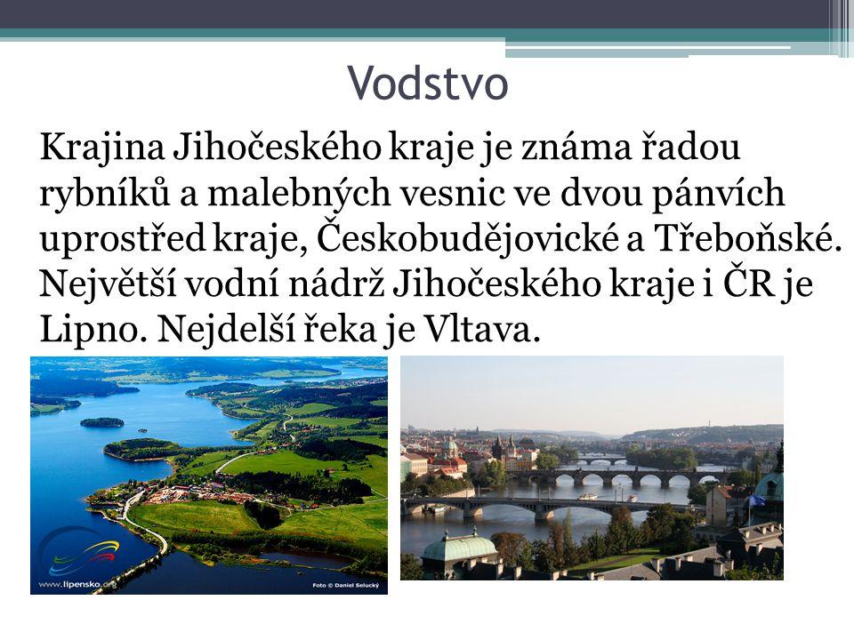 Vodstvo Krajina Jihočeského kraje je známa řadou rybníků a malebných vesnic ve dvou pánvích uprostřed kraje, Českobudějovické a Třeboňské.