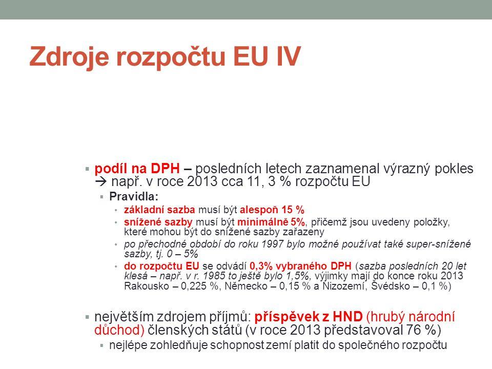 Zdroje rozpočtu EU IV  podíl na DPH – posledních letech zaznamenal výrazný pokles  např.