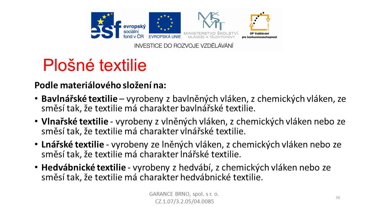 Podle materiálového složení na: Bavlnářské textilie – vyrobeny z bavlněných vláken, z chemických vláken, ze směsí tak, že textilie má charakter bavlná