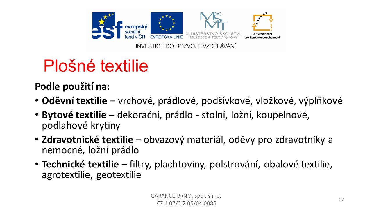 Podle použití na: Oděvní textilie – vrchové, prádlové, podšívkové, vložkové, výplňkové Bytové textilie – dekorační, prádlo - stolní, ložní, koupelnové