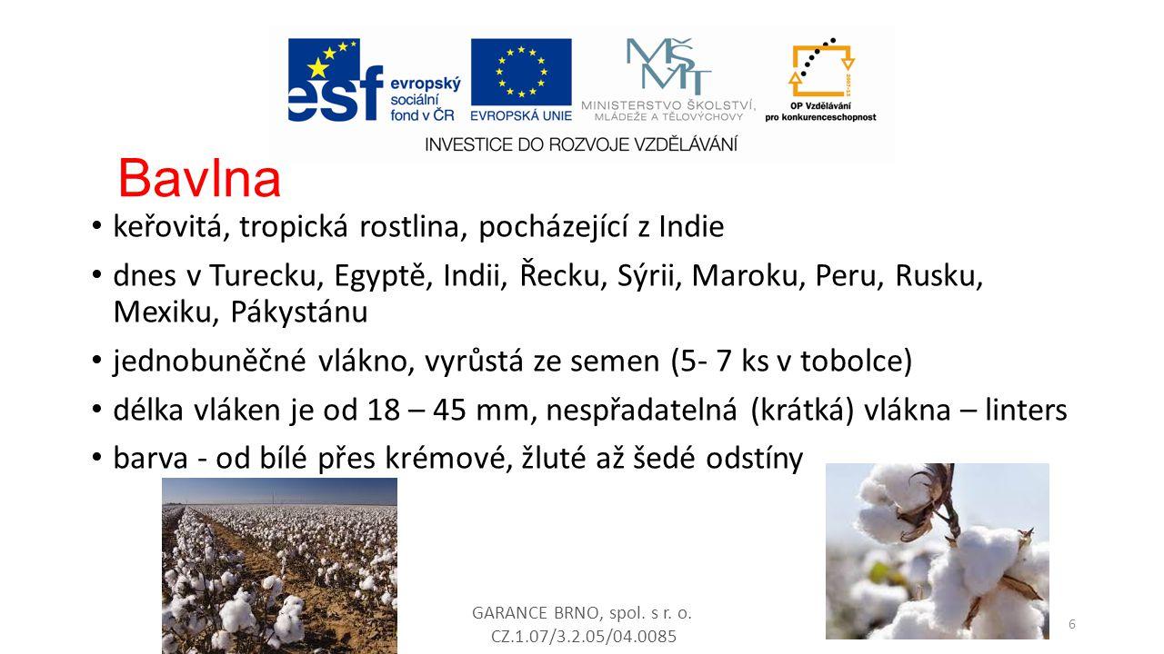 Bavlna keřovitá, tropická rostlina, pocházející z Indie dnes v Turecku, Egyptě, Indii, Řecku, Sýrii, Maroku, Peru, Rusku, Mexiku, Pákystánu jednobuněč