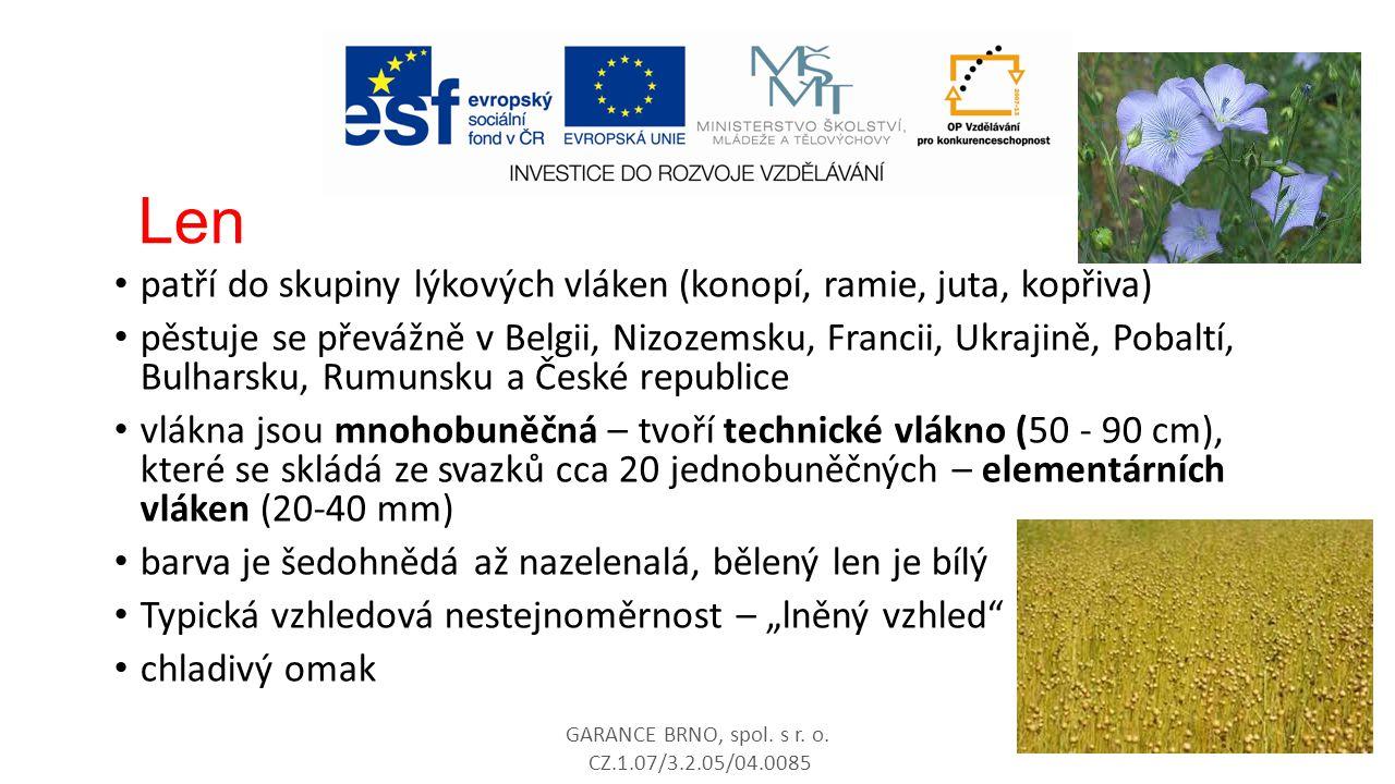 Len patří do skupiny lýkových vláken (konopí, ramie, juta, kopřiva) pěstuje se převážně v Belgii, Nizozemsku, Francii, Ukrajině, Pobaltí, Bulharsku, R