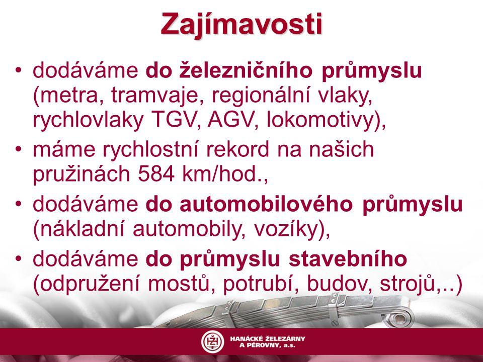 Zajímavosti dodáváme do železničního průmyslu (metra, tramvaje, regionální vlaky, rychlovlaky TGV, AGV, lokomotivy), máme rychlostní rekord na našich pružinách 584 km/hod., dodáváme do automobilového průmyslu (nákladní automobily, vozíky), dodáváme do průmyslu stavebního (odpružení mostů, potrubí, budov, strojů,..)