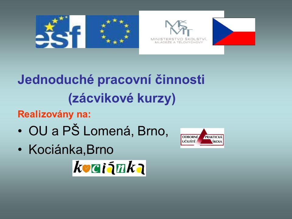 Jednoduché pracovní činnosti (zácvikové kurzy) Realizovány na: OU a PŠ Lomená, Brno, Kociánka,Brno