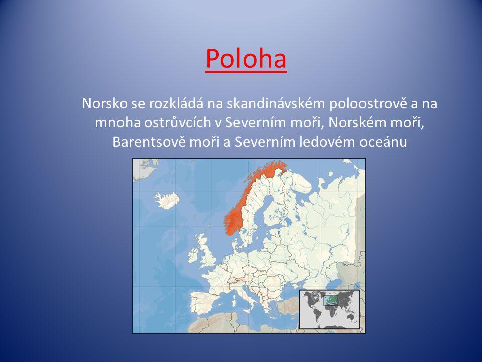 Poloha Norsko se rozkládá na skandinávském poloostrově a na mnoha ostrůvcích v Severním moři, Norském moři, Barentsově moři a Severním ledovém oceánu