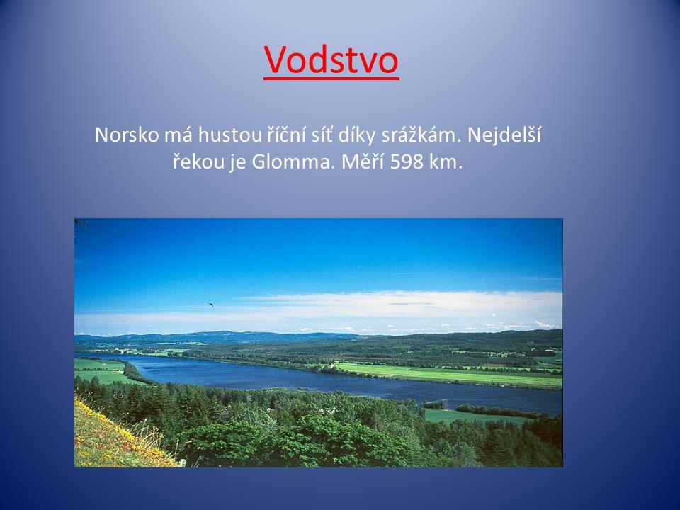 Vodstvo Norsko má hustou říční síť díky srážkám. Nejdelší řekou je Glomma. Měří 598 km.