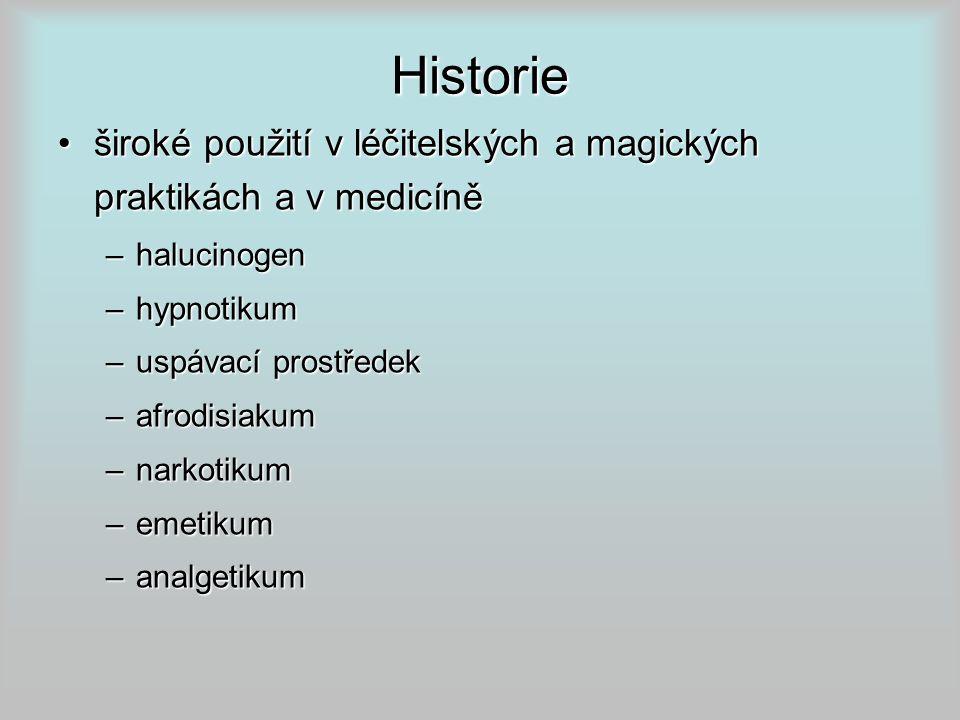 Historie široké použití v léčitelských a magických praktikách a v medicíněširoké použití v léčitelských a magických praktikách a v medicíně –halucinogen –hypnotikum –uspávací prostředek –afrodisiakum –narkotikum –emetikum –analgetikum