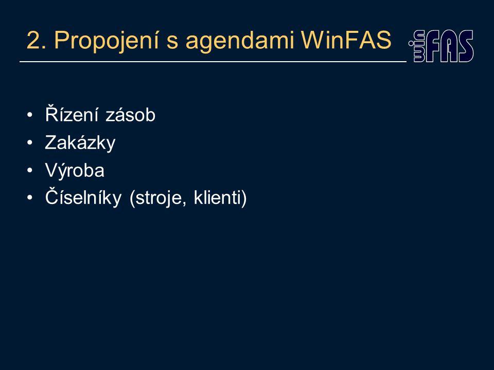 2. Propojení s agendami WinFAS Řízení zásob Zakázky Výroba Číselníky (stroje, klienti)