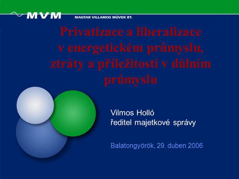 Privatizace a liberalizace v energetickém průmyslu, ztráty a příležitosti v důlním průmyslu Balatongyörök, 29.