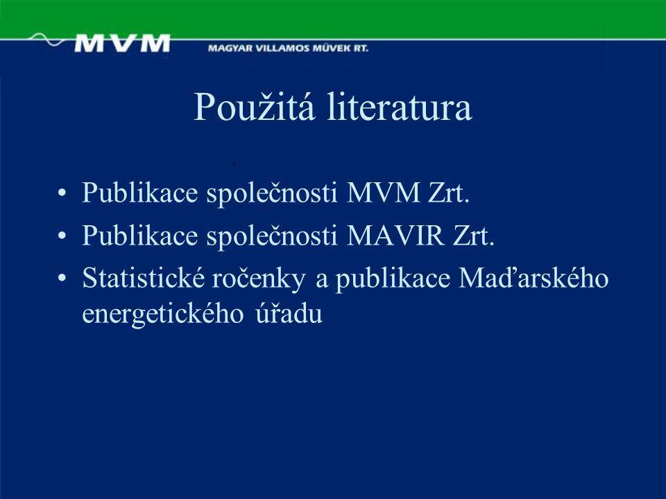 Použitá literatura Publikace společnosti MVM Zrt. Publikace společnosti MAVIR Zrt.