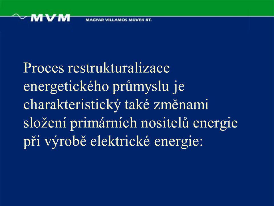 Proces restrukturalizace energetického průmyslu je charakteristický také změnami složení primárních nositelů energie při výrobě elektrické energie: