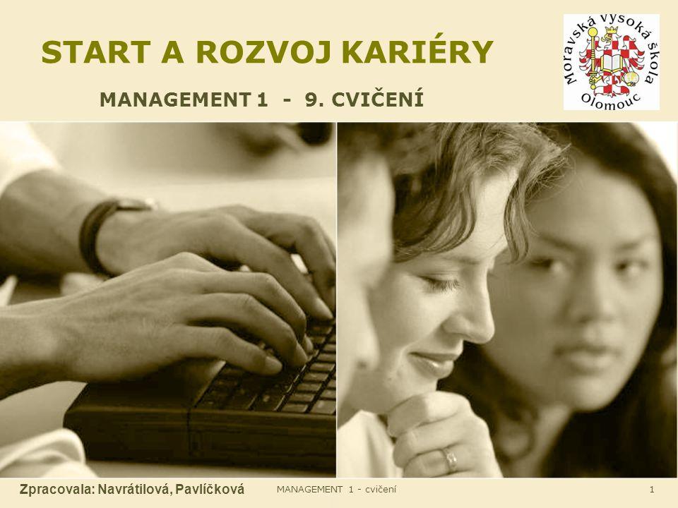 MANAGEMENT 1 - cvičení1 START A ROZVOJ KARIÉRY MANAGEMENT 1 - 9. CVIČENÍ Zpracovala: Navrátilová, Pavlíčková