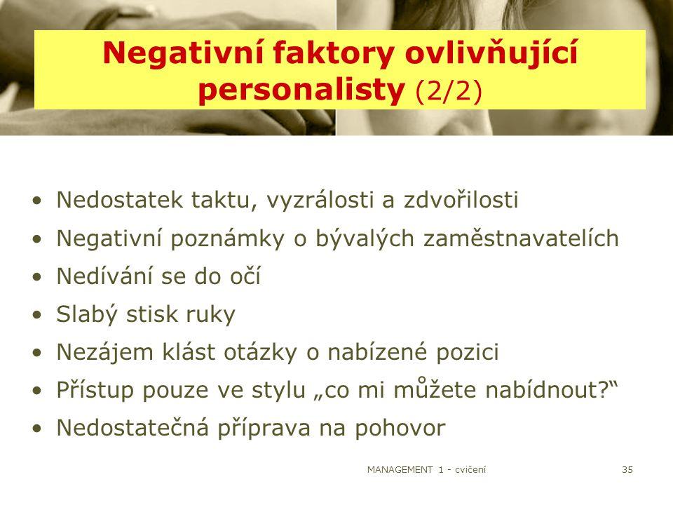 MANAGEMENT 1 - cvičení35 Negativní faktory ovlivňující personalisty (2/2) Nedostatek taktu, vyzrálosti a zdvořilosti Negativní poznámky o bývalých zam