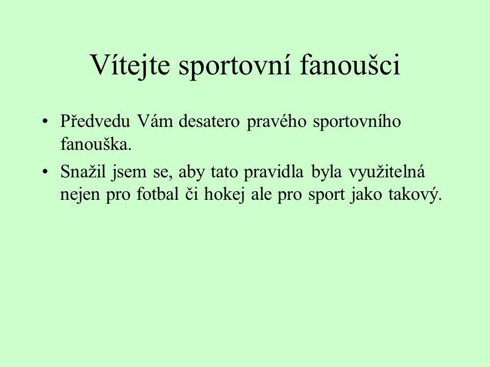 Vítejte sportovní fanoušci Předvedu Vám desatero pravého sportovního fanouška.