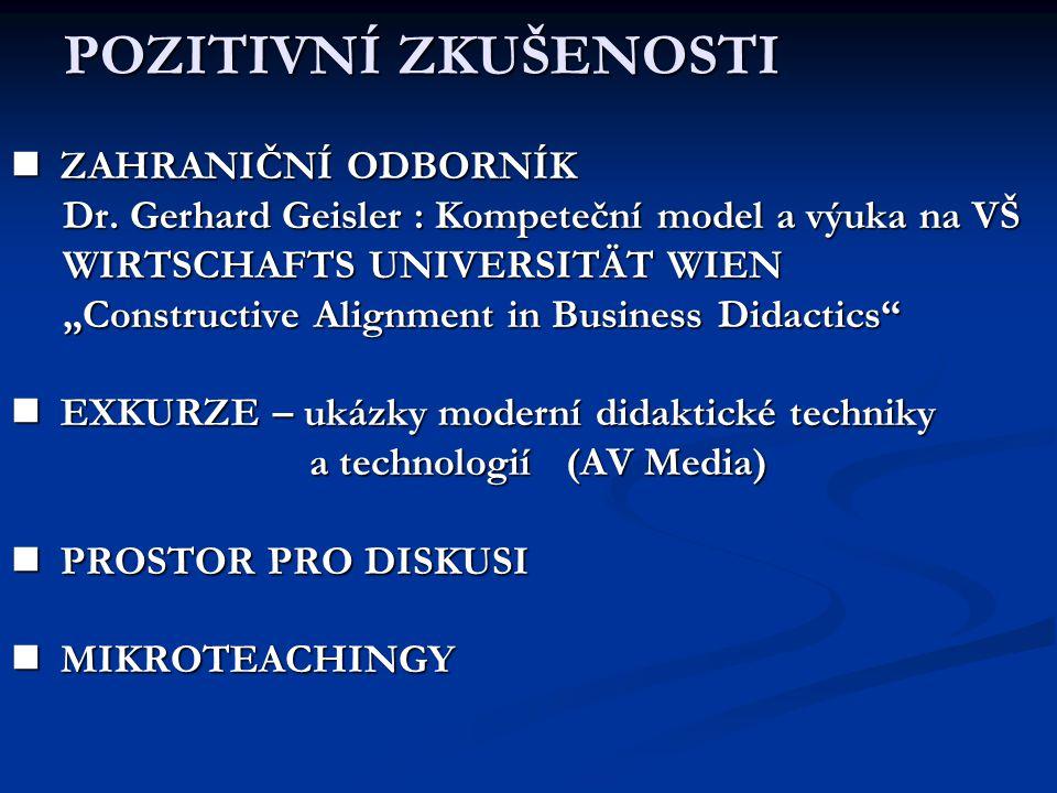 POZITIVNÍ ZKUŠENOSTI ZAHRANIČNÍ ODBORNÍK ZAHRANIČNÍ ODBORNÍK Dr. Gerhard Geisler : Kompeteční model a výuka na VŠ Dr. Gerhard Geisler : Kompeteční mod