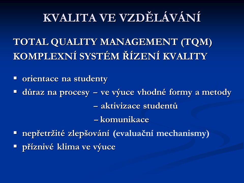 KVALITA VE VZDĚLÁVÁNÍ TOTAL QUALITY MANAGEMENT (TQM) KOMPLEXNÍ SYSTÉM ŘÍZENÍ KVALITY  orientace na studenty  důraz na procesy – ve výuce vhodné form