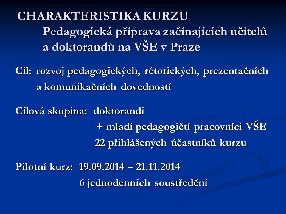 CHARAKTERISTIKA KURZU Pedagogická příprava začínajících učitelů a doktorandů na VŠE v Praze Cíl: rozvoj pedagogických, rétorických, prezentačních a ko