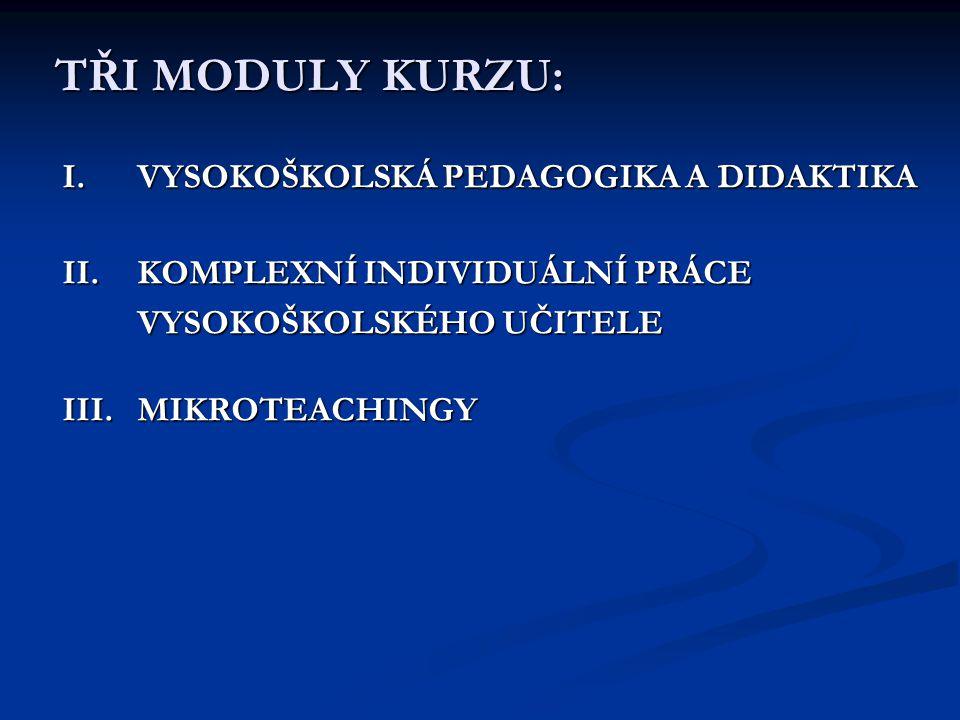 TŘI MODULY KURZU: I.VYSOKOŠKOLSKÁ PEDAGOGIKA A DIDAKTIKA II.KOMPLEXNÍ INDIVIDUÁLNÍ PRÁCE VYSOKOŠKOLSKÉHO UČITELE III.MIKROTEACHINGY