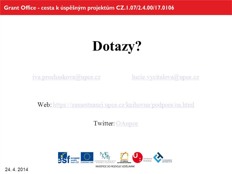 Dotazy? iva.prochaskova@upce.cziva.prochaskova@upce.cz lucie.vycitalova@upce.czlucie.vycitalova@upce.cz Web: https://zamestnanci.upce.cz/knihovna/podp