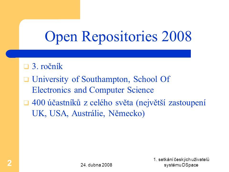 24.dubna 2008 1. setkání českých uživatelů systému DSpace 2 Open Repositories 2008  3.