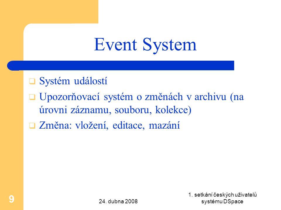24. dubna 2008 1. setkání českých uživatelů systému DSpace 9 Event System  Systém událostí  Upozorňovací systém o změnách v archivu (na úrovni zázna