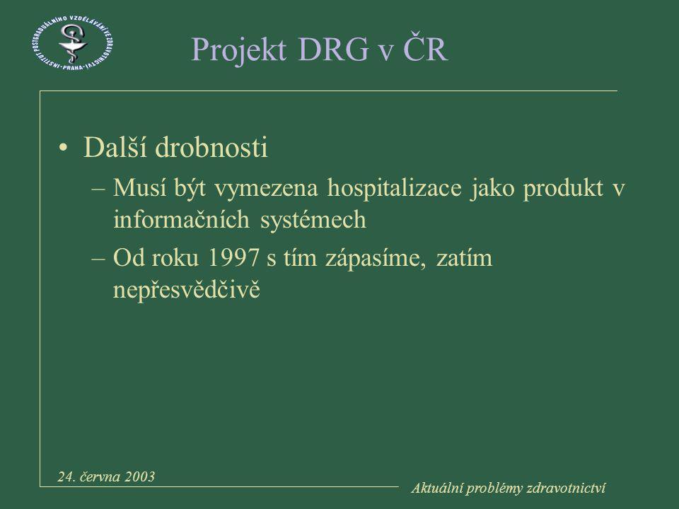 Aktuální problémy zdravotnictví 24.června 2003 Projekt DRG v ČR 1.