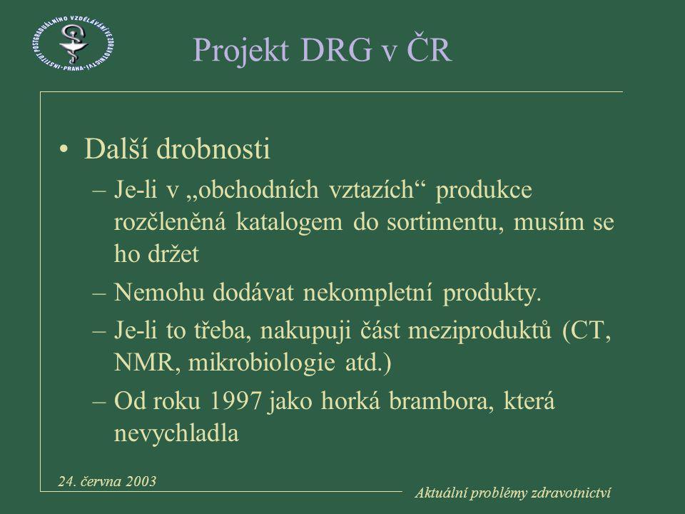 Aktuální problémy zdravotnictví 24. června 2003 Děkuji za pozornost Martin.Zeman@mnul.cz