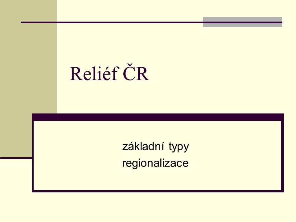 Genetické typy reliéfu Základní typologie Endogenní reliéf – tektonika, sopečná činnost Exogenní reliéf – kryogenní, fluviální, eolický, … Typický reliéf pro území ČR: reliéf skalních měst (např.