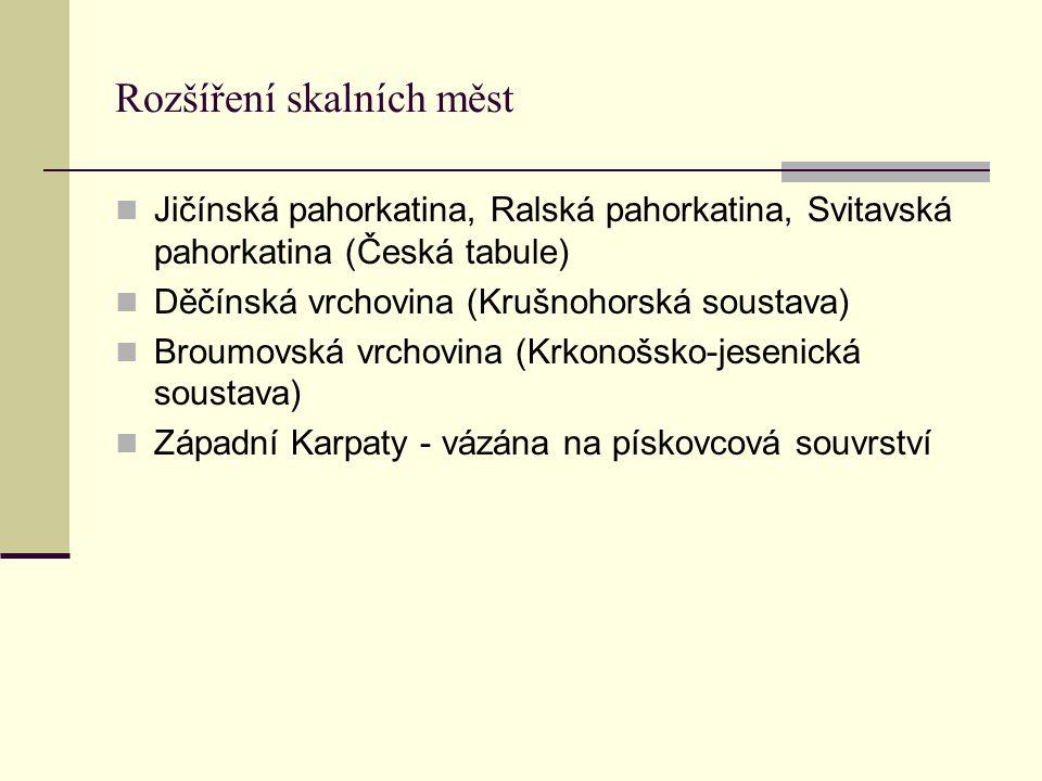 Rozšíření skalních měst Jičínská pahorkatina, Ralská pahorkatina, Svitavská pahorkatina (Česká tabule) Děčínská vrchovina (Krušnohorská soustava) Brou