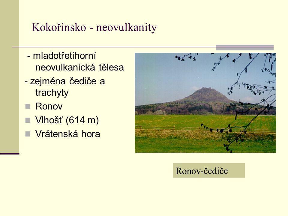 Kokořínsko - neovulkanity - mladotřetihorní neovulkanická tělesa - zejména čediče a trachyty Ronov Vlhošť (614 m) Vrátenská hora Ronov-čediče