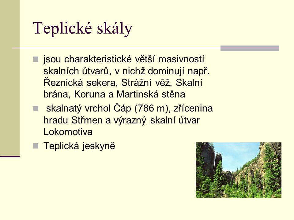 Teplické skály jsou charakteristické větší masivností skalních útvarů, v nichž dominují např. Řeznická sekera, Strážní věž, Skalní brána, Koruna a Mar