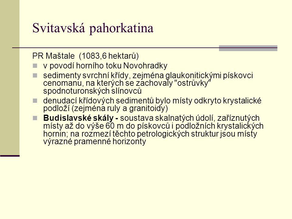 Svitavská pahorkatina PR Maštale (1083,6 hektarů) v povodí horního toku Novohradky sedimenty svrchní křídy, zejména glaukonitickými pískovci cenomanu,