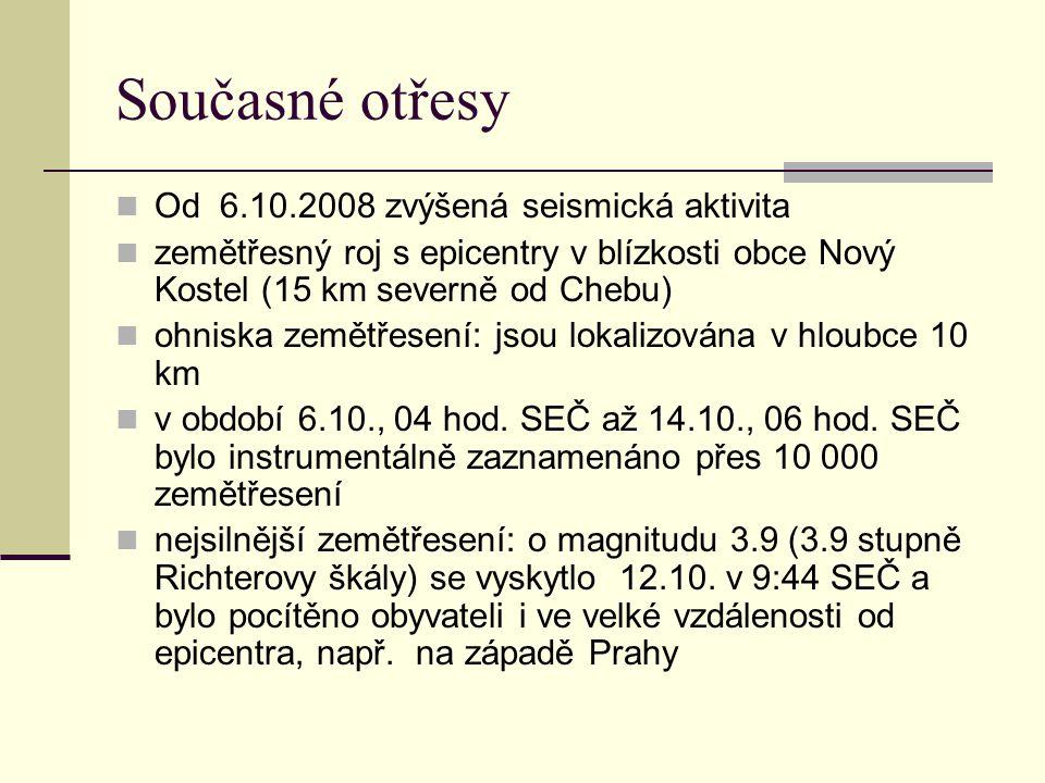 Současné otřesy Od 6.10.2008 zvýšená seismická aktivita zemětřesný roj s epicentry v blízkosti obce Nový Kostel (15 km severně od Chebu) ohniska zemět