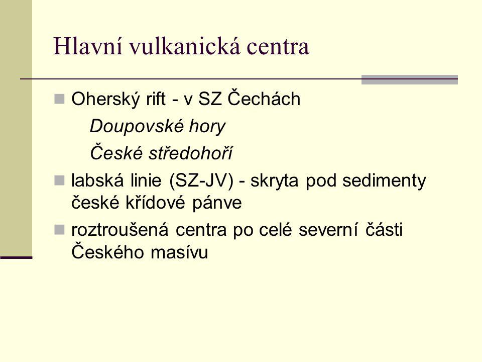Hlavní vulkanická centra Oherský rift - v SZ Čechách Doupovské hory České středohoří labská linie (SZ-JV) - skryta pod sedimenty české křídové pánve r
