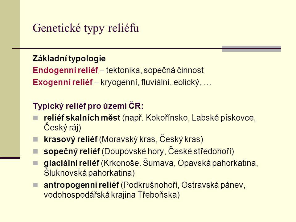Genetické typy reliéfu Základní typologie Endogenní reliéf – tektonika, sopečná činnost Exogenní reliéf – kryogenní, fluviální, eolický, … Typický rel
