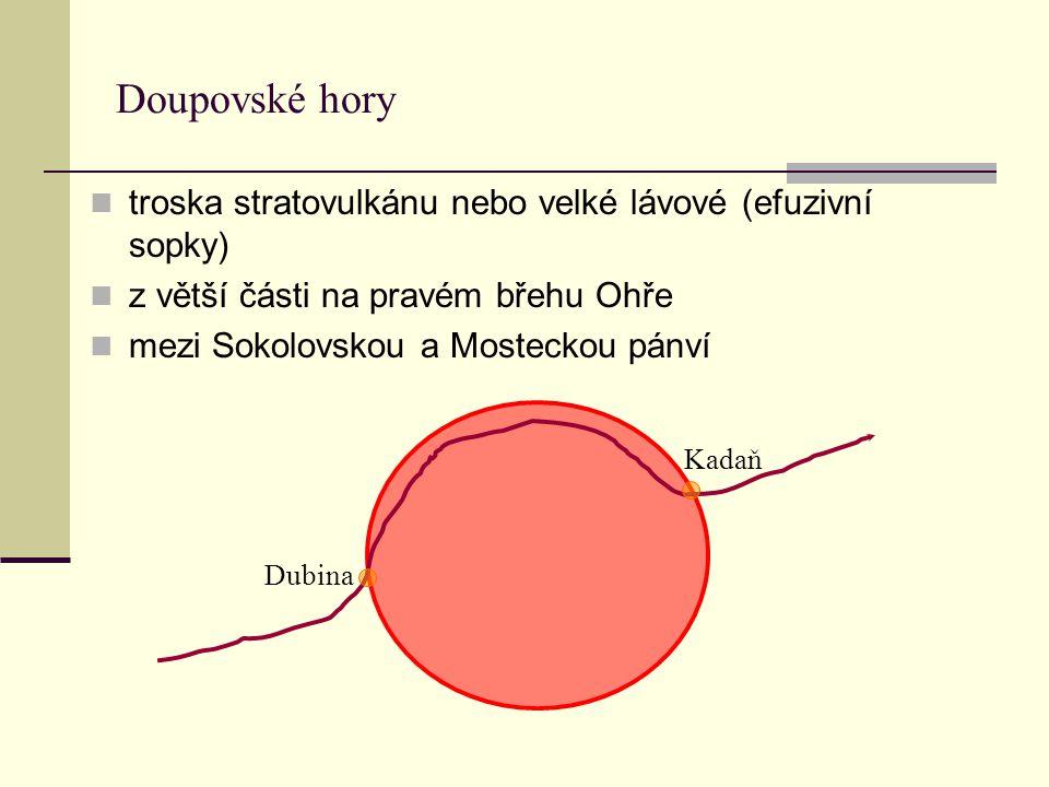 Doupovské hory troska stratovulkánu nebo velké lávové (efuzivní sopky) z větší části na pravém břehu Ohře mezi Sokolovskou a Mosteckou pánví Dubina Ka
